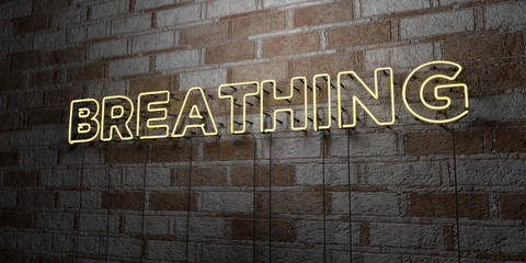 BREATHING - Glowing Neon Sign on stonework wall - 3D rendered royalty free stock illustration.  Can be used for online banner ads and direct mailers..