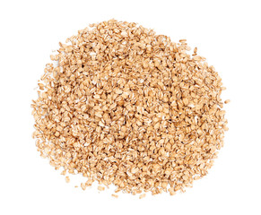 Pile of oats isolated on white background. Healthy food. Close up, top view, high resolution product