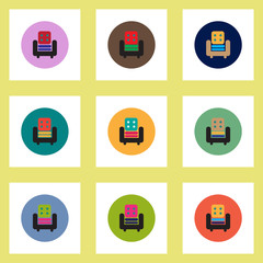 Collection of stylish vector icons in colorful circles armchair