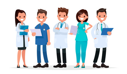 Team doctors on a white background. Vector illustration in a fla