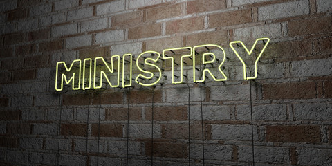 MINISTRY - Glowing Neon Sign on stonework wall - 3D rendered royalty free stock illustration.  Can be used for online banner ads and direct mailers..
