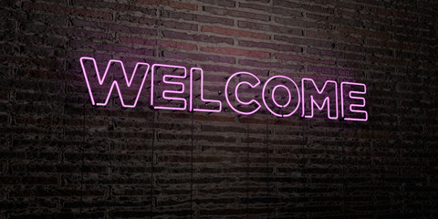 WELCOME -Realistic Neon Sign on Brick Wall background - 3D rendered royalty free stock image. Can be used for online banner ads and direct mailers..