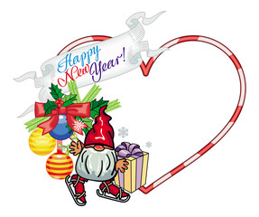 Holiday heart-shaped frame with decorations and funny gnome.