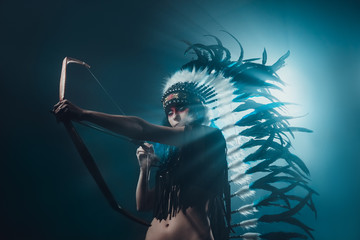 Native American woman archery