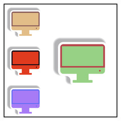 Collection of Vector illustration in paper sticker style tv monitor