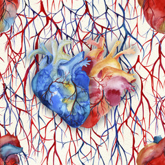 Watercolor anatomical heart seamless pattern