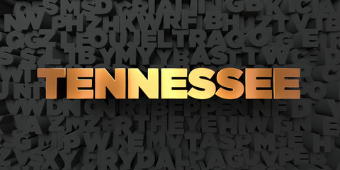 Tennessee - Gold text on black background - 3D rendered royalty free stock picture. This image can be used for an online website banner ad or a print postcard.