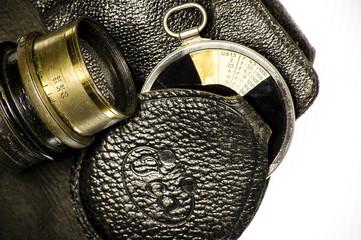 Vintage lens and light meter