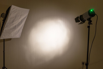 Spotlight on dark wall abstract background / room studio background