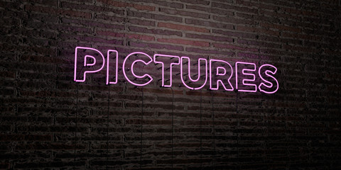 PICTURES -Realistic Neon Sign on Brick Wall background - 3D rendered royalty free stock image. Can be used for online banner ads and direct mailers..