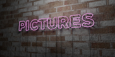 PICTURES - Glowing Neon Sign on stonework wall - 3D rendered royalty free stock illustration.  Can be used for online banner ads and direct mailers..