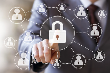 Business button lock security virtual sign web network