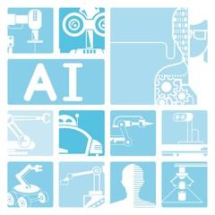 robot icons, artificial intelegence