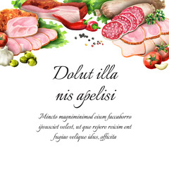 Smoked meat and sausage background. Watercolor template