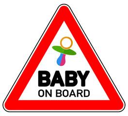 sd39 Schild-Dreieckig - Hinweis Zeichen Piktogramm Schild - Baby on Board - blue pink pacifier XXL - Dreieck rot g4795