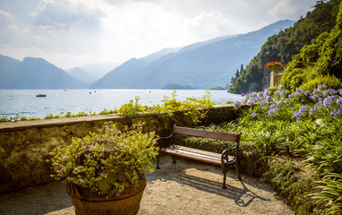 Panorama of lake Como in Lenno, Italy