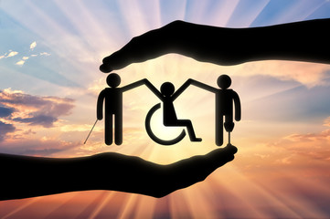 Disabled people holding hands icon in hand