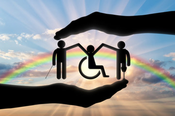 Disabled people holding hands icon in hand rainbow
