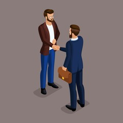 Isometric people isometric businessmen shaking hands in a business suit, make a deal. Business meeting on a dark background. Vector illustration