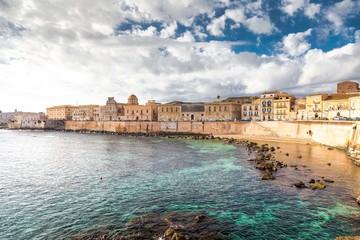 Ionian coast of Ortigia island, a part of Siracusa. Travel photo for a postcard. Sicily, Italy, Europe. Fototapete