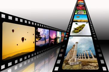 Film strip with vibrant photographs