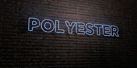 POLYESTER -Realistic Neon Sign on Brick Wall background - 3D rendered royalty free stock image. Can be used for online banner ads and direct mailers.. Fototapete