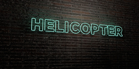 HELICOPTER -Realistic Neon Sign on Brick Wall background - 3D rendered royalty free stock image. Can be used for online banner ads and direct mailers..