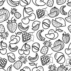 Line art fruit  icons pattern on white background