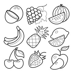 Line art fruit  icons set on white background