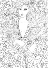 vector coloring beautiful girl in a flowered dress