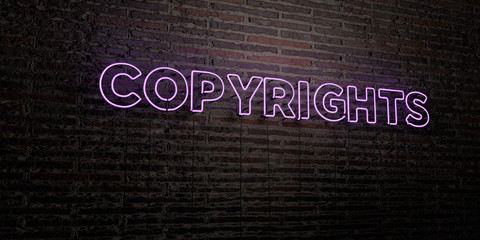 COPYRIGHTS -Realistic Neon Sign on Brick Wall background - 3D rendered royalty free stock image. Can be used for online banner ads and direct mailers..