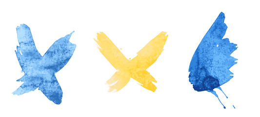 splash blue and yellow butterfly set