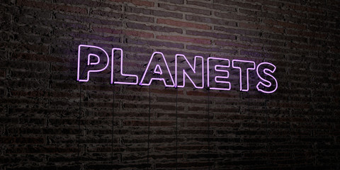PLANETS -Realistic Neon Sign on Brick Wall background - 3D rendered royalty free stock image. Can be used for online banner ads and direct mailers..