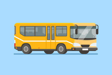 City bus vector illustration in modern flat style