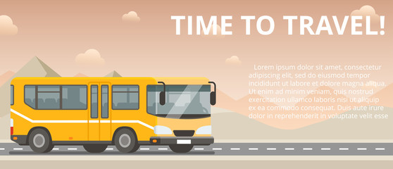 Time to travel. Flat vector yellow bus goes on the highway in the desert.