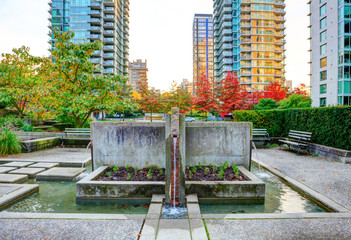 Cityscape with fountain in Vancouver, Canada.