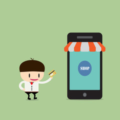 Shopping online, Online Store on smart phone. Business and Digit