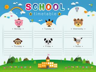 School Timetable vector illustration