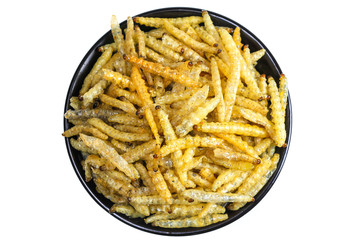 Worm bamboo fried, Local food, Dried insect deed fried