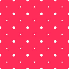 Bright Pink Seamless Pattern with White Polka Dots Different Sizes