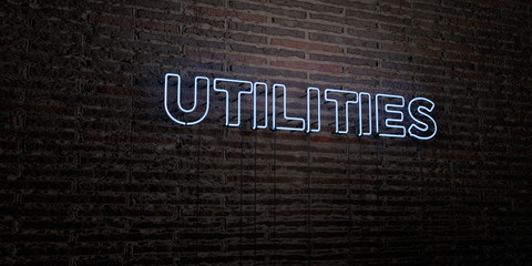 UTILITIES -Realistic Neon Sign on Brick Wall background - 3D rendered royalty free stock image. Can be used for online banner ads and direct mailers..