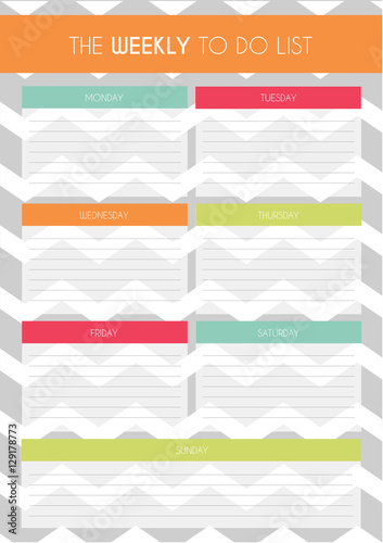 Simple Colorful \'Weekly to Do List\' Template with Chevron Pattern in ...