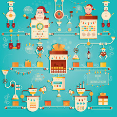 Modern vector illustration of Christmas gifts factory. Industry of new year celebration.
