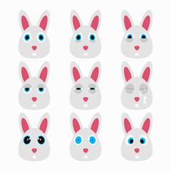 Set of cute rabbit emoticons.
