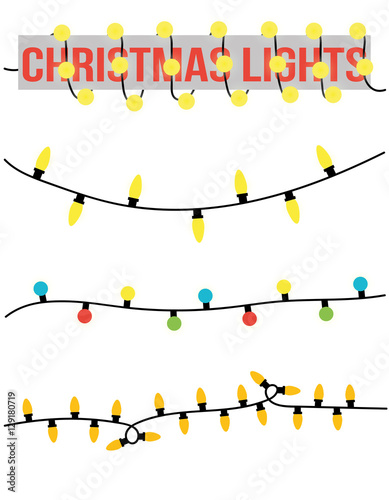 Christmas Lights Vector Free.Christmas Lights Vector Isolated Illustration Clipart Stock