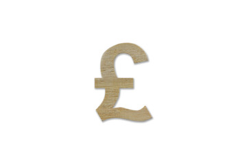 pound currency symbol made from wood isolated on white backgroun