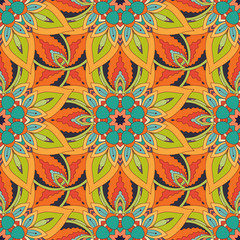 Garden Poster Moroccan Tiles Ornate floral seamless texture, endless pattern with vintage mandala elements.