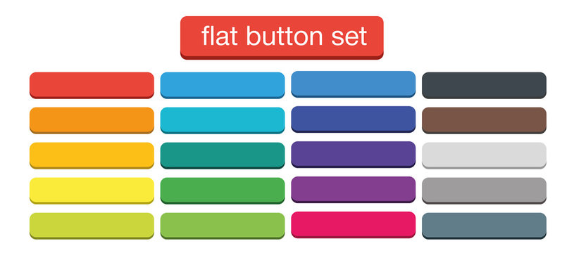 Flat Web Buttons Set Vector Isolated Material Design