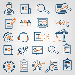 Set of SEO (search engine optimization) analytics, call center support, web site development icons. Flat line design, vector signs