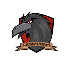 Crow Head Vector Badge - Red